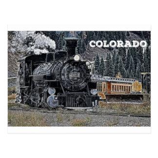 Cartão Postal Durango 1881 & estrada de ferro do calibre