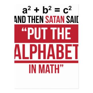 """Cartão Postal E então a satã disse que """"pnha o alfabeto na"""