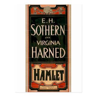 """Cartão Postal E.H. Sothern e Virgínia harned, """"Hamlet"""" T retro"""