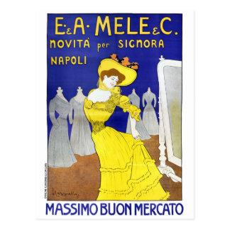 Cartão Postal E. raro A. Mele, poster vintage 1902 de Nápoles,