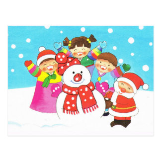 Cartão Postal É tempo da neve! Feliz Natal, miúdos na neve