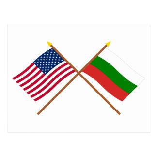 Cartão Postal E.U. e bandeiras cruzadas Bulgária