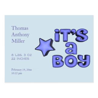 Cartão Postal É um menino com a estrela azul inchado
