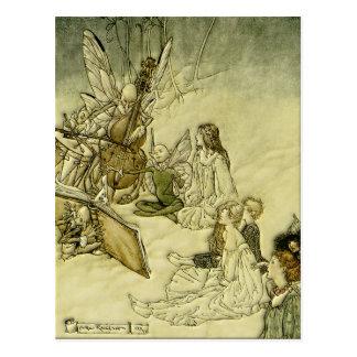 Cartão Postal E uma canção feericamente - Arthur Rackham