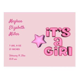 Cartão Postal É uma menina com a estrela cor-de-rosa inchado