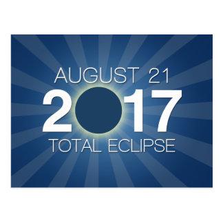 Cartão Postal Eclipse solar total 2017 - design azul