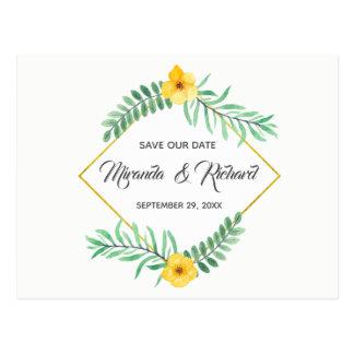 Cartão Postal Economias amarelas da flor das folhas da aguarela