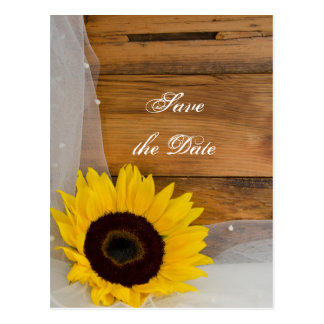 Cartão Postal Economias amarelas rústicas do casamento do véu do