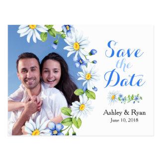 Cartão Postal Economias azuis do casamento da foto da margarida