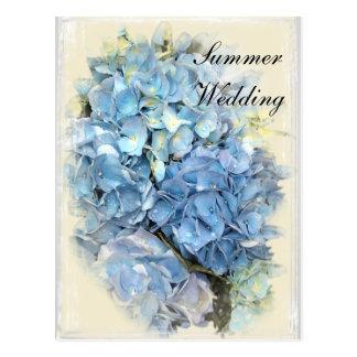 Cartão Postal Economias azuis do casamento do verão da flor do