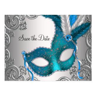Cartão Postal Economias azuis do mascarada da cerceta a data