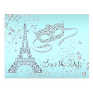 Cartão Postal Economias azuis do partido do mascarada de Paris