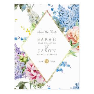 Cartão Postal Economias azuis & roxas das flores | da aguarela a