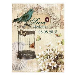 Cartão Postal economias botânicas florais do casamento do