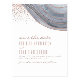 Cartão Postal Economias brancas & cor-de-rosa modernas da ágata
