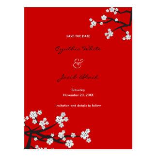 Cartão Postal Economias brancas do asiático de Sakura das flores