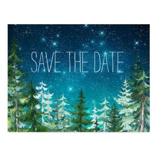 Cartão Postal Economias claras do casamento da floresta da noite