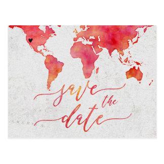 Cartão Postal Economias corais do casamento do mapa do mundo da
