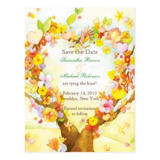 Cartão Postal Economias da aguarela da árvore do coração os