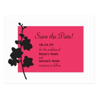Cartão Postal Economias da orquídea do rosa quente a data