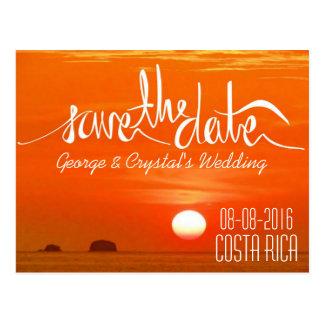 Cartão Postal Economias da praia do por do sol de Costa Rica a