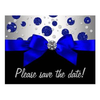Cartão Postal Economias da prata dos azuis marinhos a data