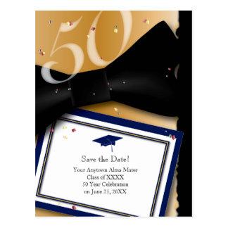 Cartão Postal Economias da reunião de classe de 50 anos o AZUL