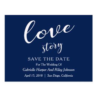 """Cartão Postal Economias de """"Love Story"""" do design moderno a data"""