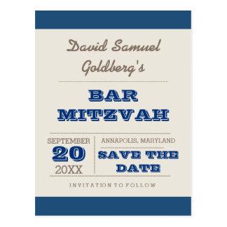 Cartão Postal Economias de Mitzvah dos azuis marinhos & do bar