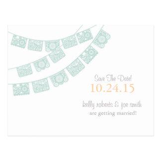 Cartão Postal Economias de Papel Picado o verde da hortelã da