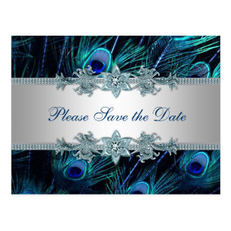 Cartão Postal Economias de prata do casamento do pavão dos azuis