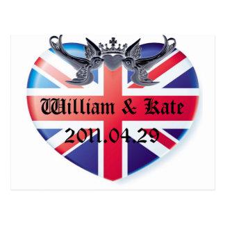 Cartão Postal Economias de William & de Kate 2011.04.29 a data