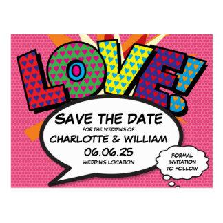 Cartão Postal Economias do amor do pop art da banda desenhada a