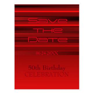 Cartão Postal Economias do aniversário das listras do vermelho
