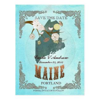Cartão Postal Economias do Aqua a data - mapa de Maine com