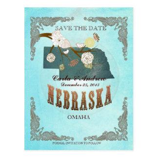 Cartão Postal Economias do Aqua a data - mapa de Nebraska com