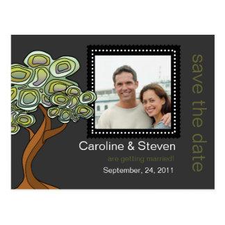 Cartão Postal Economias do casamento da árvore de Eco a data