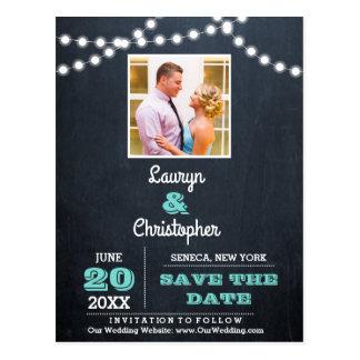Cartão Postal Economias do casamento da cerceta das luzes do