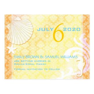 Cartão Postal Economias do casamento de praia da brisa do verão