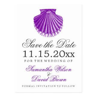 Cartão Postal Economias do casamento de praia o roxo de Shell de