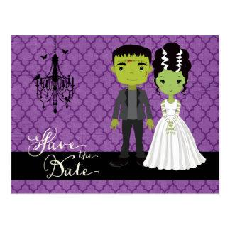 Cartão Postal Economias do casamento do Dia das Bruxas a data