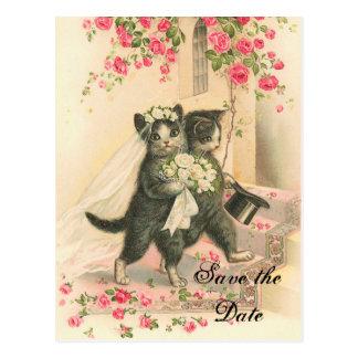 Cartão Postal Economias do casamento do gatinho do Victorian a