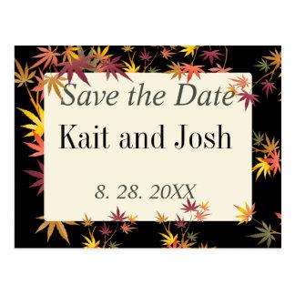 Cartão Postal Economias do casamento do outono do bordo da queda