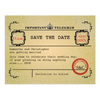 Cartão Postal Economias do casamento do telegrama do vintage a