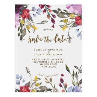 Cartão Postal economias do casamento do wildflower do boho o
