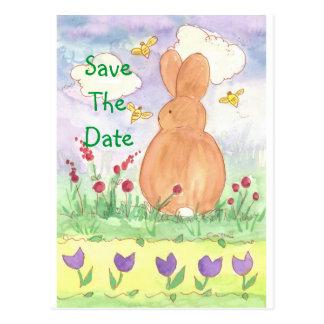 Cartão Postal Economias do coelho do bebê a aguarela do coelho