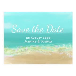 Cartão Postal Economias do litoral da praia da água azul do Aqua