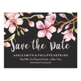 Cartão Postal Economias do preto da flor de cerejeira da