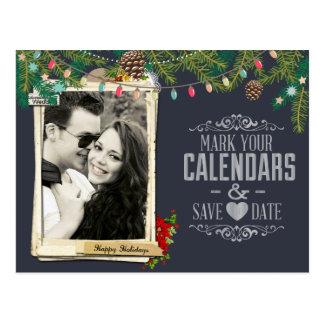 Cartão Postal Economias do quadro do casamento do Natal a data