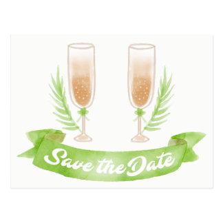 Cartão Postal Economias do verde o noivado dos vidros de vinho